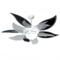 """52"""" Flower Ceiling Fan w/ Black & Translucent Blades - BL52W BBL52-BLK"""