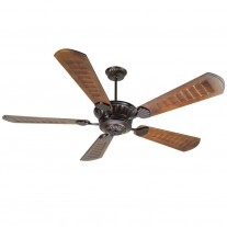"DC Epic Ceiling Fan by Craftmade - Huge 70"" Custom Carved Wood Blades - Oiled Bronze Finish"