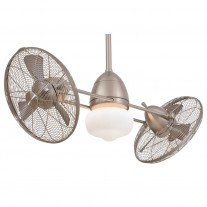 Gyro WET Dual Outdoor Ceiling Fan by Minka Aire - F402-BNW Brushed Nickel Wet