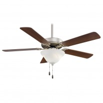 "52"" Minka Aire Ceiling Fan w/ Bowl Light - Brushed Steel w/ Dark Walnut Blades"