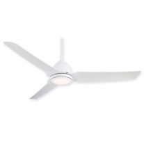 "54"" Minka Aire Java LED Ceiling Fan F753L-WHF - Flat White Finish w/ Light"