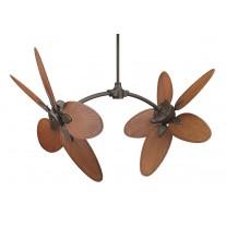 Fanimation Caruso Dual Ceiling Fan - FP7000OB & CABPP4BR Blades