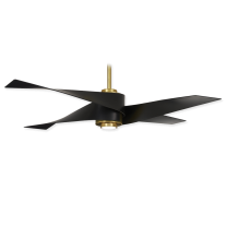 "64"" Minka Aire Artemis IV F903L-SBR/MBK Ceiling Fan - Soft Brass w/ Matte Black - LED Light"