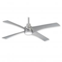 "54"" Minka Aire Swept Ceiling Fan F543L-SL w/ LED Lighting - Silver Finish w/ DC Motor"