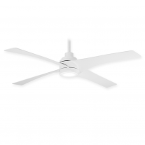 "54"" Minka Aire Swept Ceiling Fan F543L-WHF w/ LED Lighting - Flat White Finish w/ DC Motor"