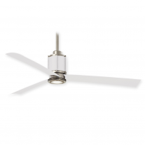 "54"" Minka Aire Gear Ceiling Fan F736L-BS/WHF w/ LED Lighting - Brushed Steel & Flat White Finish"