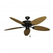 "52"" Outdoor Wet Rated Bamboo Raindance Ceiling Fan Matte Black - 6 Blade Finishes"