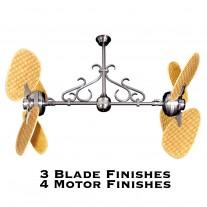 Gulf Coast Fans Twin Star II Dual Motor Ceiling Fan w/ Woven Bamboo Blades