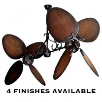 Twin Star II Dual Motor Ceiling Fan by Gulf Coast Fans w/ Distressed Walnut Blades