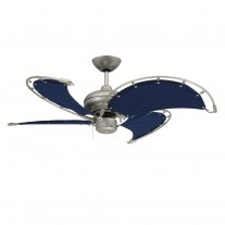 "40"" TroposAir Voyage Ceiling Fan In Brushed Nickel With Blue Blades"
