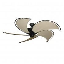 Nautical Raindance Ceiling Fan - Matte Black - Khaki Blades