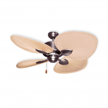 "48"" Palm Breeze II Ceiling Fan - Satin Steel - Natural Palm Blades"