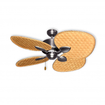 48 Gulf Coast Palm Breeze Ii Ceiling Fan Satin Steel W Choice Of 3 Woven Bamboo Blade Finishes
