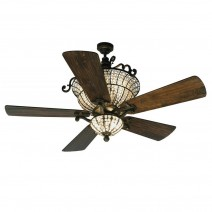 Craftmade Cortana Crystal Ceiling Fan Including Downlight - Walnut Blades