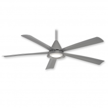 "54"" Cone Ceiling Fan by Minka Aire - F541L-SL - Silver w/ LED Light"