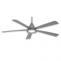 "54"" Cone Ceiling Fan by Minka Aire - F541L-SL - Silver w/ LED Light"