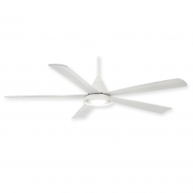 "54"" Cone Ceiling Fan by Minka Aire - F541L-WH - White w/ LED Light"
