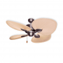 "48"" Gulf Coast Palm Breeze II Ceiling Fan - Satin Steel w/ Natural Palm Leaf Blades"
