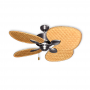 "48"" Gulf Coast Palm Breeze II Ceiling Fan - Satin Steel w/ Choice of 3 Woven Bamboo Blade Finishes"