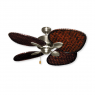 "48"" Palm Breeze II Ceiling Fan - Satin Steel - Woven Bamboo Dark"