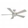 """Modern Forms Wynd 52"""" Ceiling Fan - 316 Grade Stainless Steel - Show with light cover"""
