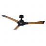 """60"""" Woody Ceiling Fan / Modern Forms / Matte Black / Distressed Koa Blades shown with light cover"""