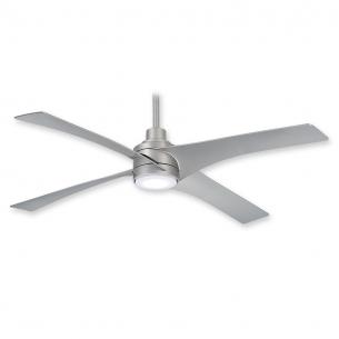 Swept Ceiling Fan by Minka Aire w/ LED Light - F543L-SL - Silver