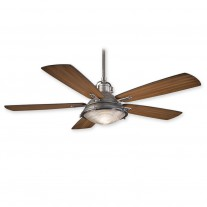 "56"" Groton Ceiling Fan - Minka Aire F681-WA/PW - Weathered Aluminum / Pewter Finish"