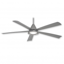 "54"" Minka Aire Cone Ceiling Fan F541L-SL w/ LED Lighting - Silver - 3, 4, or 5 Blade Mounting Option"