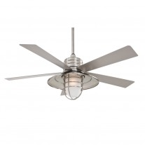 """54"""" RainMan Ceiling Fan by Minka Aire - F582-BNW Brushed Nickel Wet Finish with Light Kit"""