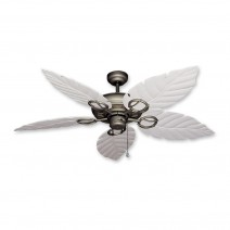 Trinidad Ceiling Fan Antique Bronze - Pure White Leaf Blades