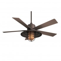 """54"""" RainMan Ceiling Fan by Minka Aire - F582-ORB Oil Rubbed Bronze with Light Kit"""