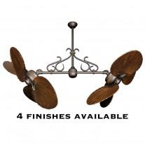 Gulf Coast Fans Twin Star II Double Ceiling Fan w/ Solid Wood Carved Walnut Blades