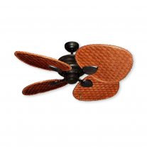 """48"""" Gulf Coast Palm Breeze II Ceiling Fan - Oil Rubbed Bronze w/ Choice of 3 Woven Bamboo Blade Finishes"""