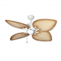 "50"" Bombay Ceiling Fan Pure White - Tropical Tan Blades"