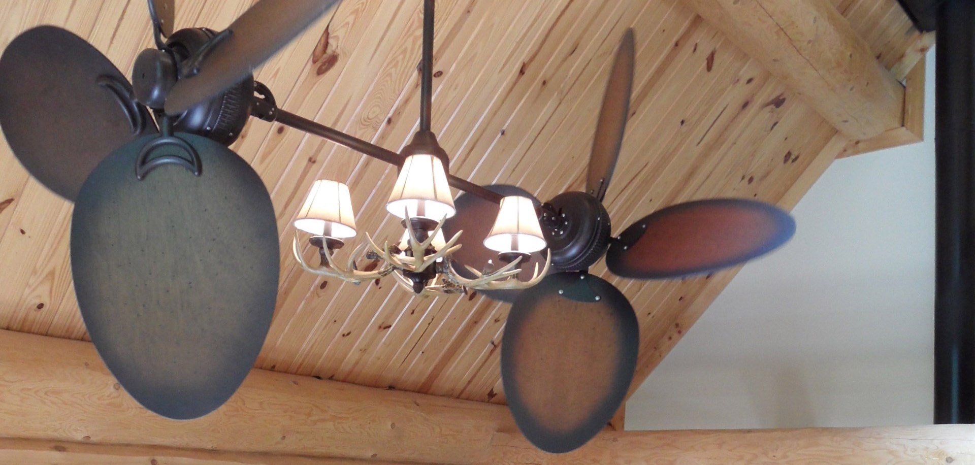 Dual Rustic Ceiling Fan with Modern Antler Lights
