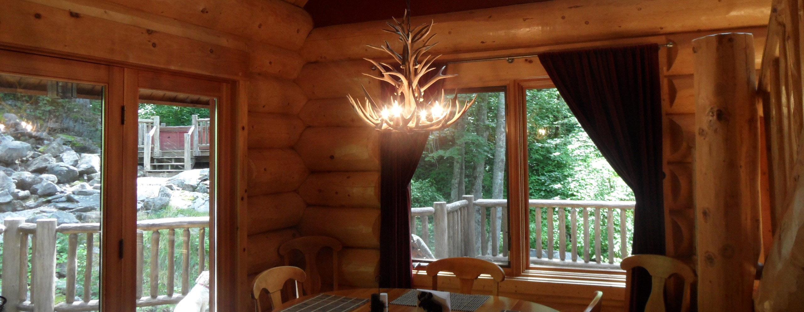 Antler Chandelier Lighting in Log Cabin