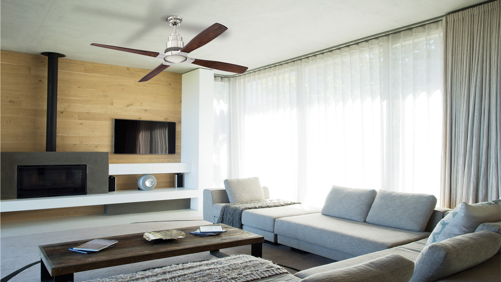 Modern home interior with a contemporary ceiling fan